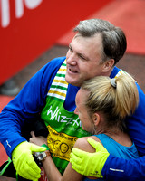 MP FOR MORLEY AND OUTWOOD ED BALLS ATTENDS VIRGIN LONDON MARATHON FINISH AT THE MALL, LONDON, UK ON 21/04/2013