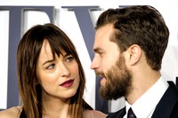 JAMIE DORNAN AND DAKOTA JOHNSON ATTENDS 50 SHADES OF GREY UK PREMIERE AT ODEON LEICESTER SQUARE, LONDON, UK ON 12/02/2015