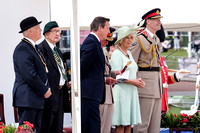 HRH THE PRINCE OF WALES WITH HRH THE DUCHESS OF CORNWALL ATTENDS  THE NATIONAL COMMEMORATION AND DRUMHEAD SERVICE  AT HORSE GUARDS PARADE, LONDON, UK ON 15/08/2015