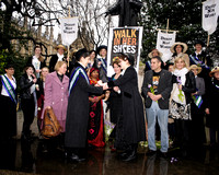 Dr Helen Pankhurst and daughter Laura lead a walk of Olympic Suffragettes through London on International Women's Day