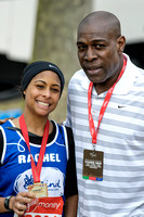FRANK BRUNO GREETS HIS DAUGHTER RACHEL ATTENDS VIRGIN LONDON MARATHON FINISH AT THE MALL, LONDON, UK ON 21/04/2013