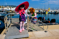 Characters from the film Hotel Transylvania 3: Summer Vacation leave the marina following a photocall