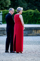 Prime Minister Theresa May waits for President Trump