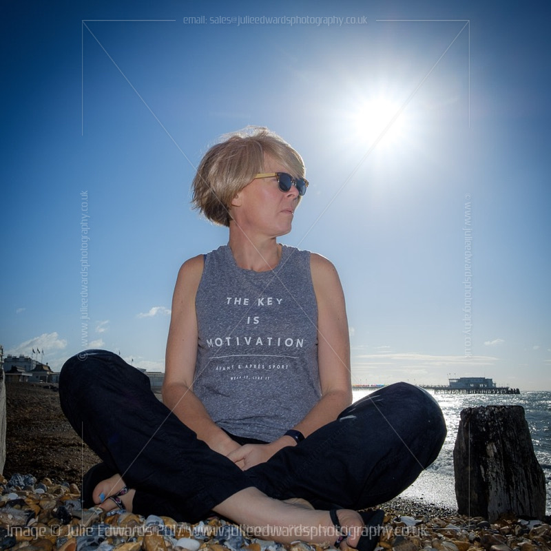 Unflattering Self Portrait on Worthing beach - learning new lighting and remotes