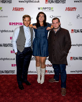 Kevin Bishop, Hayley-Marie Axe and Jack Doolan attends the World Premiere of May I Kill U? at Frightfest the 13th