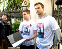 THE FREE KIERON BRYAN CAMPAIGN HOLDS A SILENT PROTEST AT EMBASSY OF THE RUSSIAN FEDERATION, LONDON, UK ON 02/11/2013