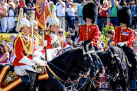 Household Cavalry (HCav) march past Buckingham Palace