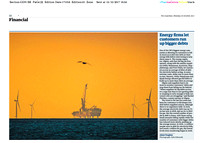 The Guardian 16/10/2017 The sun rises over the English Channel and Rampion windfarm
