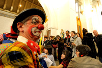 CLOWNS IN JOSEPH GRIMALDI CHURCH TRIBUTE SERVICE AT HOLY TRINITY, THE CLOWNS CHURCH, EAST LONDON, UK ON 02/02/2014
