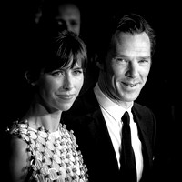 Benedict Cumberbatch with Sophie Hunter arrives on the red carpet for the London Film Festival screening of Black Mass