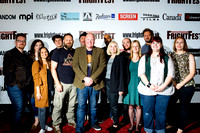 Mentors Barbara Crampton Dominic Brunt and Travis Stevens with the winners NEW BLOOD Event for genre screenwriters Barbara Crampton Dominic Brunt Travis Stevens