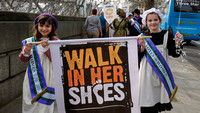 LEADING FEMINISTS JOIN HELEN AND LAURA PANKHURST & OLYMPIC SUFFRAGETTES TO LAUNCH CARE'S WALK IN HER SHOES CAMPAIGN ON INTERNATIONAL WOMEN'S DAY. AT WESTMINSTER, LONDON, UK ON 08/03/2014