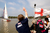 WORLD'S LONGEST AND TOUGHEST OCEAN ENDURANCE CHALLENGE ENDS IN LONDON WITH A PARADE OF SAIL  AT ST KATHARINE DOCKS, RIVER THAMES, LONDON, UK ON 12/07/2014