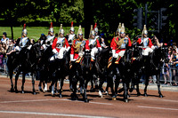 The Household Cavalry head past Buckingham Palace towards Horse Guards Parade